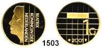 AUSLÄNDISCHE MÜNZEN,Niederlande Beatrix 1980 - 2013 1 Gulden 2001.  Königin Beatrix - Goldener Abschiedsgulden.  Schön 85 b.  KM 230.  Fb. 356.  Im Originaletui mit Zertifikat.  GOLD