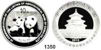 AUSLÄNDISCHE MÜNZEN,China Volksrepublik seit 1949 10 Yuan 2010.  Zwei Pandas beim Spielen -  Börsengang der Agricultural Bank of China.  Schön 1782.  KM 1793.  Im Originaletui mit Zertifikat.