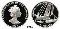 AUSLÄNDISCHE MÜNZEN,Bahamas  2 Dollars 1995.  Olympische Sommerspiele.  Fehlprägung in der Inschrift