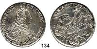 Deutsche Münzen und Medaillen,Preußen, Königreich Friedrich II. der Große 1740 - 1786 Taler 1751 B, Breslau.  22,15 g.  Kluge 61 C/d.   v.S. 182.  Old. 28 a.  Über der Mitte des Kopfes O, Rechts 3 Fahnenspitzen.