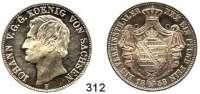 Deutsche Münzen und Medaillen,Sachsen Johann 1854 - 1873 Vereinstaler 1858 F, Dresden.  Kahnt 463.  Thun 339.  AKS 132.  Jg. 107.  Dav. 890.
