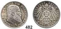 R E I C H S M Ü N Z E N,Württemberg, Königreich Wilhelm II. 1891 - 1918 2 Mark 1892.