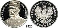 AUSLÄNDISCHE MÜNZEN,Polen Volksrepublik 100.000 Zlotych 1990 (1 Unze).  Pilsudski.  Fischer K 077.  Schön 213.  KM 201.