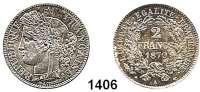 AUSLÄNDISCHE MÜNZEN,Frankreich 3. Republik 1870 - 1940 2 Francs 1870 A, Paris.  Kahnt/Schön 126.  KM 817.1.  Gadoury 158.
