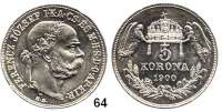 Österreich - Ungarn,Habsburg - Lothringen Franz Josef I. 1848 - 1916 5 Kronen 1900 KB, Kremnitz.  Frühwald 2106.  Jl. 407.