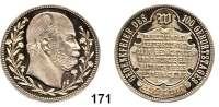Deutsche Münzen und Medaillen,Preußen, Königreich Wilhelm I. 1861 - 1888 Silbermedaille 1897 (unsigniert).  Zu seinem 100. Geburtstag.  Kopf rechts zwischen Zweigen. / Schrift auf Tafel unter strahlendem W.  33 mm.  14,49 g.  Marienburg - (vgl. 7093).