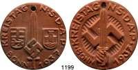 MEDAILLEN AUS PORZELLAN,Andere Hersteller Sonstige Hersteller LOT von 2 verschiedenen einseitigen braunen Keramikmedaillen 1937.  Auf den Kreistag der N.S.D.A.P. in Bonn.  48 und 50 mm.  Jeweils gelocht.