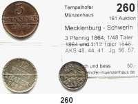 Deutsche Münzen und Medaillen,Mecklenburg - Schwerin Friedrich Franz II. 1842 - 1883 3 Pfennig 1864, 1/48 Taler 1864 und 1/12 Taler 1848.  AKS 48, 44, 41.  Jg. 56, 57, 53.  LOT 3 Stück.