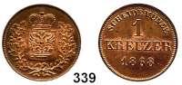 Deutsche Münzen und Medaillen,Schwarzburg - Rudolstadt Albert, 1867 - 1869 1 Kreuzer 1868.  AKS 33.  Jg. 50.