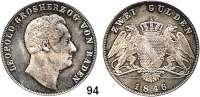 Deutsche Münzen und Medaillen,Baden - Durlach Karl Leopold Friedrich 1830 - 1852 Doppelgulden 1846.  Kahnt 22.  Thun 27.  AKS 91.  Jg. 63.  Dav. 527.