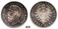 R E I C H S M Ü N Z E N,Baden, Großherzogtum Friedrich I. 1856 - 1907 5 Mark 1875.