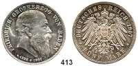 R E I C H S M Ü N Z E N,Baden, Großherzogtum Friedrich I. 1856 - 1907 5 Mark 1907.  Auf seinen Tod.