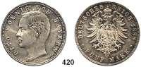R E I C H S M Ü N Z E N,Bayern, Königreich Otto 1886 - 1913 5 Mark 1888.