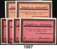 P A P I E R G E L D   -   N O T G E L D,Schleswig - Holstein Hockensbüll Gemeinde.  6x 50 Pfennig o.D. (1921).  G/M 614.1 b(2x) und 614.2 a(4x).  LOT 6 Scheine.