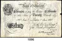 P A P I E R G E L D,AUSLÄNDISCHES  PAPIERGELD Großbritannien Falsche Pfundnoten - Operation Bernhard.  20 Pfund  7.Juni 1937 London.  Pick 337 a.