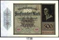 P A P I E R G E L D,Weimarer Republik  500 Mark 27.3.1922.  Ros. DEU-80.  LOT 7 Scheine