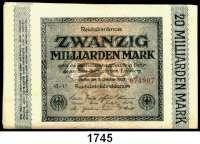 P A P I E R G E L D,Weimarer Republik  20 Milliarden Mark 1.10.1923.  Ros. DEU-137.  LOT 25 Scheine.