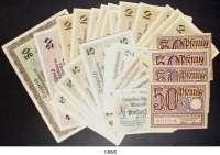 P A P I E R G E L D,Memelgebiet Notgeld der Handelskammer des Memelgebietes 1922 1/2(5),  1(8), 2(3), 5(11), 10(14), 20 und 50 Mark 22.2.1922.  Ros. MEM-1 a, 2, 3 a, 3 b, 4 a, 4 b, 5 a, 5 b, 6 b, 7 a.  Beigegeben 4x 50 Pfennig 15.4.19 Danzig.  LOT 44 Scheine