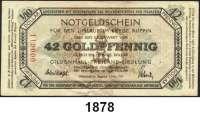 P A P I E R G E L D   -   N O T G E L D,Brandenburg Gildenhall. Gildenhall-Freiland-Siedlung.  42 Goldpfennig 1.11.1923.  Müller 1885.1.  Dabei Schein mit Nummer 000611.  LOT 18 Scheine.