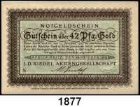 P A P I E R G E L D   -   N O T G E L D,Brandenburg Berlin J. D. Riedel Aktiengesellschaft.  42 Goldpfennig 29.10.1923.  Müller  0390.1b.  LOT 4 Scheine.  Fortlaufende Nummern.