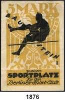 P A P I E R G E L D   -   N O T G E L D,Brandenburg Berlin Berliner-Sport-Club.  5 Mark Baustein o.D.  Zu einem Sportplatz.  G/M 82.1.
