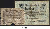 P A P I E R G E L D,D E U T S C H E      K O L O N I E N Deutsch - Südwestafrika 20 und 100 Mark 8.8.1914.  Ros. DSW-3 b und 5 b.  LOT 2 Scheine.