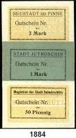 P A P I E R G E L D   -   N O T G E L D,Posen  Jutroschin,  50 Pfennig(2) und 1 Mark o.D.;  Neustadt bei Pinne,  1 Mark und 2 Mark(2) o.D. (August 1914);  Sulmirschütz,  50 Pfennig, 1 und 2 Mark o.D.  Dießner zu 167.1, 2; zu 258.2, 3; 387.1, 2, 3.  Alles Blanketten.  LOT 9 Scheine.