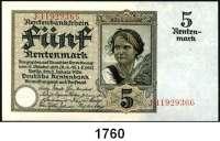 P A P I E R G E L D,R E N T E N B A N K  5 Rentenmark 2.1.1926.  KN 8-stellig.  Serie J.  Ros. DEU-209 b.