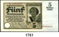 P A P I E R G E L D,R E N T E N B A N K  5 Rentenmark 2.1.1926.  KN 8-stellig.  Serie: K.  Kennnummer braun.  Ros. DEU-209 F.