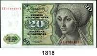 P A P I E R G E L D,BUNDESREPUBLIK DEUTSCHLAND  20 Deutsche Mark 1.6.1977.  ZE...A.  Austauschnote.  Ros. BRD-20 b.