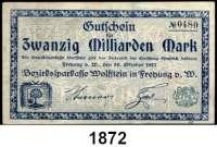 P A P I E R G E L D   -   N O T G E L D,Bayern Freyung. Bezirkssparkasse Wolfstein in Freyung.  500.000 Mark und 1 Million Mark 19.8.1923.  10 Millionen Mark 12.9.1923.  50 und 100 Millionen Mark 29.9.1923.  20 Milliarden Mark 29.10.1923.  Keller 1614 c,d, k, n, p.  LOT 6 Scheine.