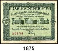 P A P I E R G E L D   -   N O T G E L D,Bayern Schwandorf Bayerische Braunkohlen-Industrie-Aktien-Gesellschaft.  100.000 Mark, 1 Million Mark, 5, 50, 100 Millionen Mark 8.8.1923.  10 Milliarden Mark 6.11.1923.  50 Milliarden Mark 7.11.1923.  100 Milliarden Mark 16.11.1923.  Keller 5071 a, b, f, g, o.  LOT 8 Scheine.