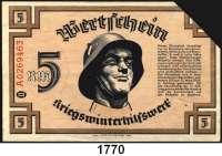 P A P I E R G E L D,Winterhilfswerk  5 Reichsmark 1939/1940 (gültig bis 15.4.1940).  Ausgabestelle lt. Stempel Gau München-Oberbayern.  Entwertet.  Ros. WHW-14.