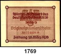 P A P I E R G E L D,Winterhilfswerk  Lotterie des Winterhilfswerk des deutschen Volkes 1935/36.  Originalprämienschein Serie 9.  Ziehung 20. März 1936.