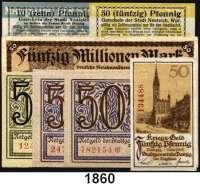 P A P I E R G E L D,D A N Z I G  Stadt,  50 Pfennig 1.11.18 (kleine Fehlstelle), 3x 50 Pfennig 15.4.1919.  Dazu Neuteich, Stadt:  50 Pfennig 1.4.1919 und 10 Pfennig 2.6.1920 sowie Zoppot, 50 Millionen Mark(gebraucht) 20.9.1923.  Grab. D 3.2, 3.3(2), 3.4, N 40.2.b, N 40.4b.  Keller 5816 b.  LOT 7 Scheine.
