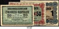 P A P I E R G E L D,B E S A T Z U N G S A U S G A B E N     I. W E L T K R I E G Besatzungsausgaben in Rußland 20, 50 Kopeken und 1 Rubel 17.4.1916.  Ros. EWK-33, 34 a, 35 c.  LOT 3 Scheine.