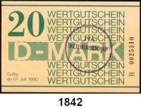 P A P I E R G E L D,D D R Gefängnisgeld 1, 5, 10, 50 Pfennig und 1, 5(gebraucht), 10(gebraucht), 20 D-Mark 1.7.1990.  Serie B.  Die Markwerte sind gestempelt mit einem Rundstempel
