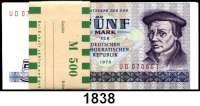 P A P I E R G E L D,D D R  5 Mark 1975.  Ros. DDR-23c.  Bündel 100 Scheine mit fortlaufenden Nummern