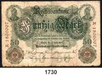 P A P I E R G E L D,K A I S E R R E I C H  50 Mark 8.6.1907.  Serie  A.  Ros. DEU-26.