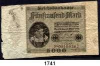 P A P I E R G E L D,Weimarer Republik  5000 Mark 15.3.1923.  Ohne Überdruck.  Serie F.  Fehlschnitt.  Ros. DEU-98.
