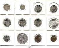 AUSLÄNDISCHE MÜNZEN,Spanien L O T S     L O T S     L O T S LOT von 12 Münzen.  Darunter 4 Reales 1852; 20 Centavos 1894; 5 Peseten 1871(73); 25 Peseten 1967 (5x prägefrisch).