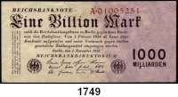 P A P I E R G E L D,Weimarer Republik  1 Billion Mark 1.11.1923.  Serie A.  Ros. DEU-155 a.