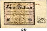 P A P I E R G E L D,Weimarer Republik  1 Billion Mark 5.11.1923.  FZ: AR.  Ros. DEU-162 d.