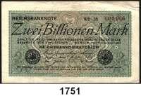 P A P I E R G E L D,Weimarer Republik  2 Billionen Mark 5.11.1923.  FZ: WB.  KN 000100.  Ros. DEU-163 e.