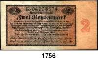 P A P I E R G E L D,R E N T E N B A N K  2 Rentenmark 1.11.1923.  Serie B.  Ros. DEU-200.