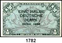 P A P I E R G E L D,BUNDESREPUBLIK DEUTSCHLAND  1/2 Deutsche Mark 1948.  Mit B-Stempel.  Ros. WBZ-13 a.