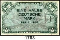 P A P I E R G E L D,BUNDESREPUBLIK DEUTSCHLAND  1/2 Deutsche Mark 1948.  Mit B-Perforation.  Ros. WBZ-13 b.