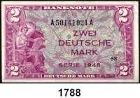 P A P I E R G E L D,BUNDESREPUBLIK DEUTSCHLAND  2 Deutsche Mark 1948.  A...A