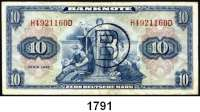 P A P I E R G E L D,BUNDESREPUBLIK DEUTSCHLAND  10 Deutsche Mark 1948.  Mit B-Stempel.  Ros. WBZ 17 a.