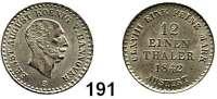 Deutsche Münzen und Medaillen,Braunschweig - Calenberg (Hannover) Ernst August 1837 - 1851 1/12 Taler 1842 S.  AKS 113.  Jg. 72.